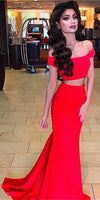 Two Piece Off the Shoulder Mermaid Red Prom Dress ,prom dress ,5917