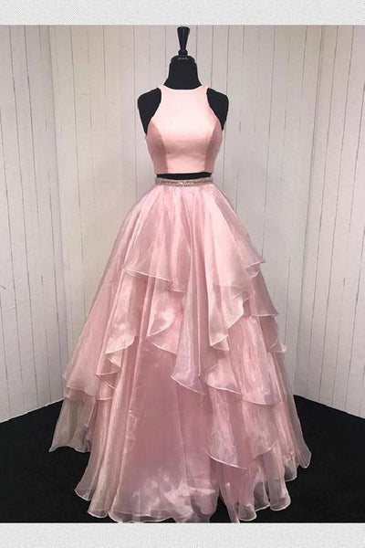 Pink Prom Dresses, Long Prom Dresses, Two Pieces Prom Dresses,5927