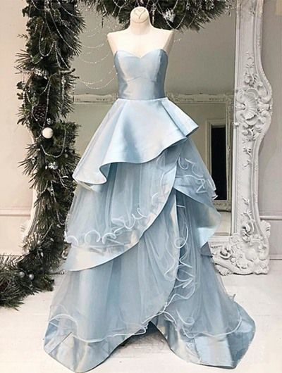 Sweetheart Neck Baby Blue Layered Long A Line Evening Dress, Senior Prom Dress,5928