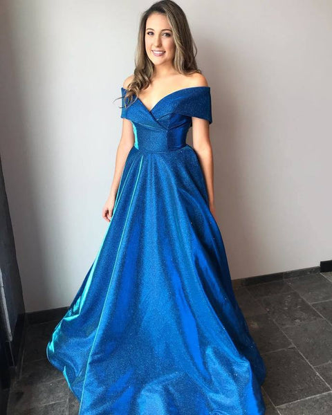 Ball Gown Off Shoulder Sleeves Blue Prom Dress,5942