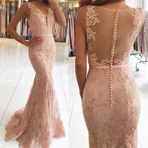 Mermaid Pink Sexy Lace Long Prom Dresses,5963