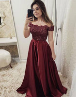 Chic Tulle & Satin Off-the-shoulder Neckline Floor-length A-line Evening Dresses With Beaded Lace Appliques & Bowknot,prom dress,5997