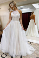 A Line Halter Tulle Wedding Dress with Top Lace, Backless Beach Wedding Dresses ,B59