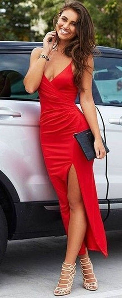 Red Elegant High Slit A-line Long Prom Dresses,evening Dresses,B65