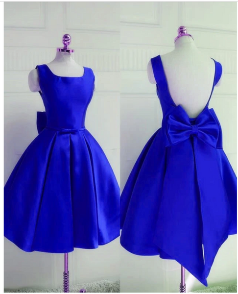Royal Blue Backless Satin Party Dress with Bow, Lovely Party Dress,homecoming dress