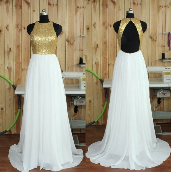 Real Image Long Chiffon Gold Sequins Bridesmaid Dresses O Neck Backless Sexy Wedding Party Dresses White Formal Gowns ,B75
