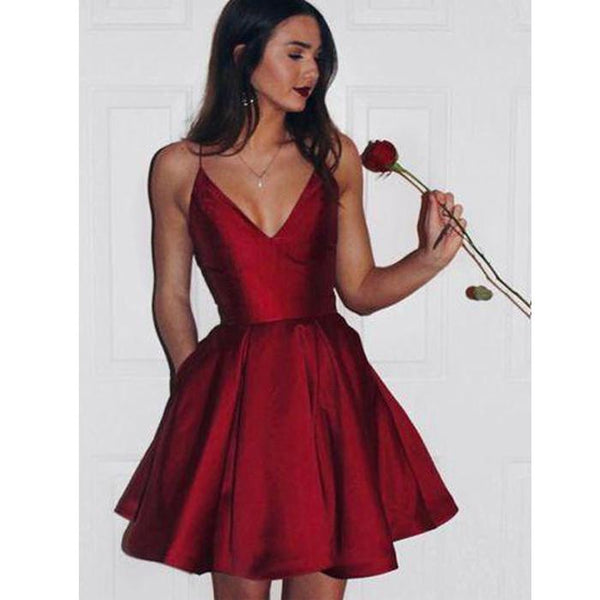 Popular Simple Cheap Spaghetti Strap Short homecoming dress,JJ05