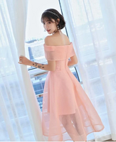 Pink Off Shoulder Tea Length Tulle Homecoming Dress, Short Party Dress