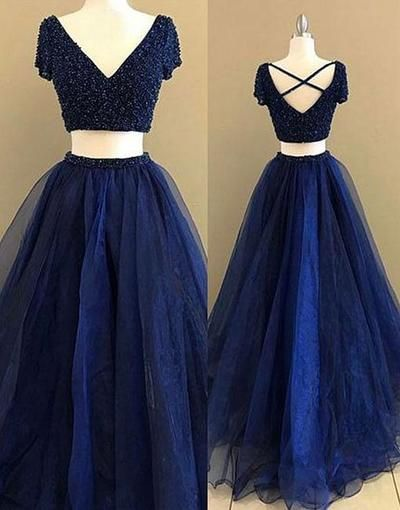 Royal Blue Two Pieces Long Tulle Prom Ball Gown,6011