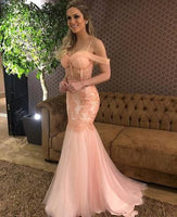 Beautiful Mermaid Prom Dress Sweetheart Neck Spaghetti Straps Backless Appliques Sweep Train Custom Evening Party Gown,6018