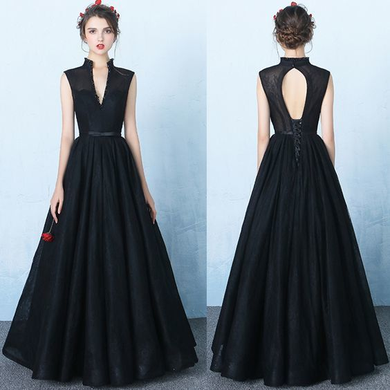 New Design Black Lace V Neck Prom Dresses,Standup Neck Backless Ball Gown Prom Dress,Beads Princess Long Evening Dress ,Graduation ,6024