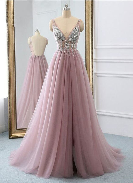 Pink tulle v neck sequins long open back senior prom dress, evening dress from Sweetheart Dress,6069