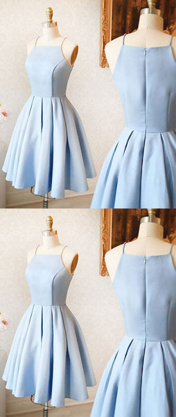 Cute A-Line Halter Light Blue Short Homecoming/Prom Dress,JJ606