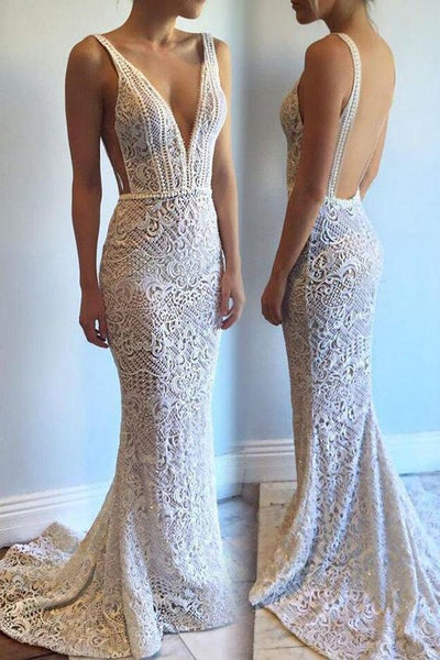 Mermaid Lace Wedding Dresses Sexy Backless Long Beaded Bridal Gowns,prom dress ,6083