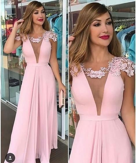 Cap Sleeves Deep V Neck Pink Long Prom Dress Vintage Wedding Party Dress,6094