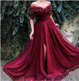 Long Off the Shoulder Red Tulle Dress Prom Party Gown with Slit,prom dress ,6100