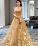 Champagne tulle lace long prom dress, tulle lace evening dress ,B60