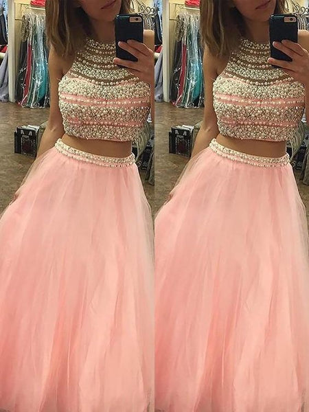 A-Line/Princess Halter Sleeveless Tulle Floor-Length Beading Two Piece Dresses,prom dress ,6105