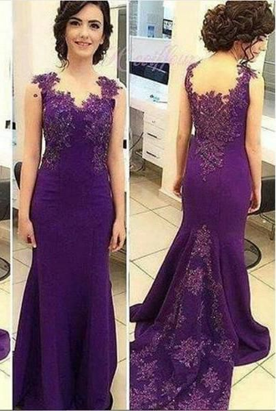 Appliques Sweep/Brush Train Mermaid/Trumpet Satin Purple Prom Dresses,6131.