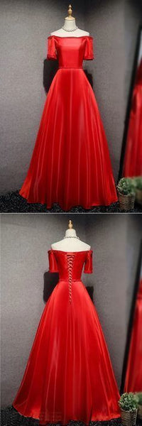 Red satin long strapless A-line beaded prom dresses,6142