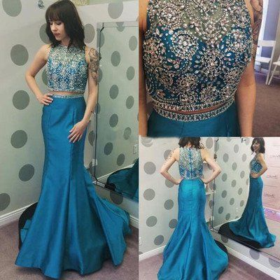 blue prom Dress,two pieces Prom Dress,long prom dress,charming prom dress,mermaid prom dress,6153