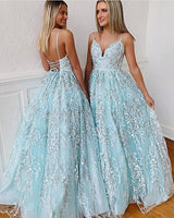 Baby Blue Lace Tie up Long V Neck Backless Evening Dress, Senior Prom Dress,,6165