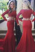 Elegant mermaid scoop beading long sleeve prom dress with sweep train,prom dress ,6167