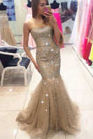 Mermaid Sweetheart Tulle Ombre Beaded Prom Dress,prom dress ,6170