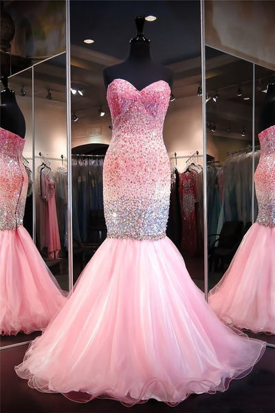 Mermaid Sweetheart Pink Tulle Ombre Beaded Prom Dress,prom dress ,6171