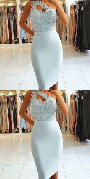Sheath One Shoulder Light Blue Knee-Length Prom Dress with Lace Beading.JJ617