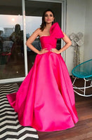 Strapless A Line Satin Prom Dresses Long Evening Dresses With Bowknot,prom dress ,6190