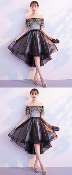 Black tulle lace short prom dress, black tulle homecoming dress,JJ620