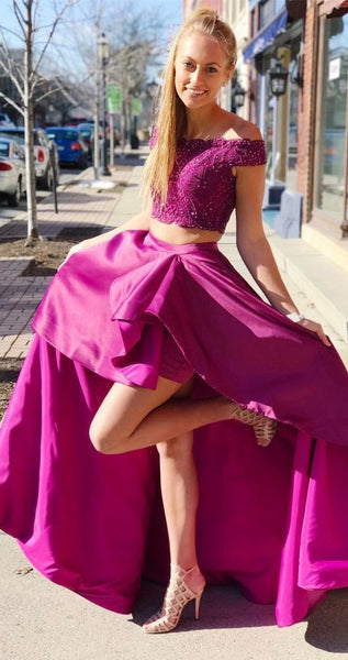 Elegant Two Piece Off the Shoulder Fuchsia Long Party Dress,prom dress ,6214