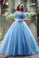 Princess Ball Gown Off Shoulder Blue Long Prom Dress,Quinceanera Dresses ,6223