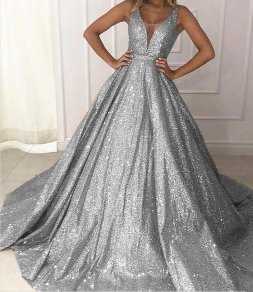 Champagne/Gray Ball Gown Sequins Bling Bling Prom Dresses Sexy V Neck with Straps,prom dress ,6237