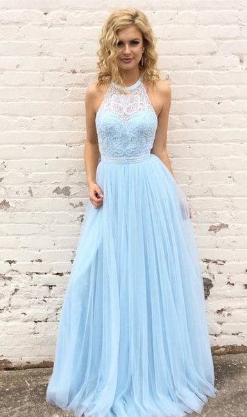 Blue long prom dress, halter prom dress, graduation dress, formal evening dress,prom dress ,6249