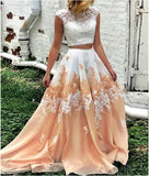 Unique two pieces long prom dress, lace long prom dress,6297
