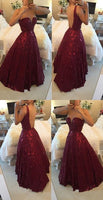 Backless Beaded Prom Dress,Burgundy A Line Prom Dress,Custom Made Evening Dress,prom dress ,6322