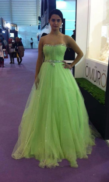 Charming Prom Dress,Sexy Prom Dress,Long Prom Dresses,Green Tulle Evening Dress,Backless Prom Dresses,6339