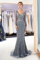 FRIDA BEADED SEQUIN MERMAID MESH PROM DRESS,prom dress ,6344
