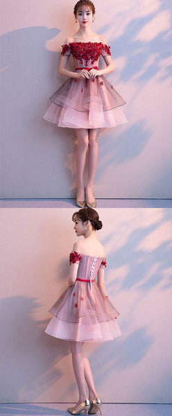 Pink tulle lace short prom dress, pink tulle homecoming dress,JJ635