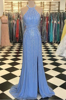 Mermaid Evening Gowns with Beading Halter Blue Long Prom Dresses Split,6378