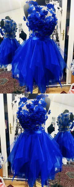 short royal blue homecoming prom dress,JJ637