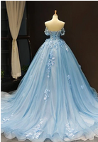Off Shoulder Blue Handmade Flower Long Evening Prom Dresses, Evening Party Prom Dresses,6381