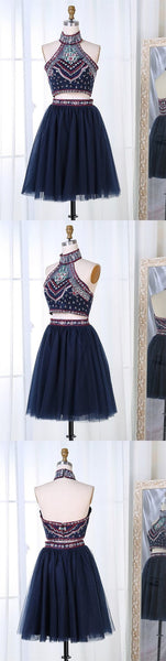 Two Piece High Neck Navy Blue Tulle Homecoming Dress with Embroidery,JJ639