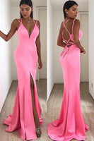 Tight Prom Dresses, Mermaid Slit-Front Pink Long Prom Dress ,6404