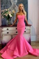 Satin Mermaid Prom Dress with Unique Strapless Neckline,prom dress ,6405