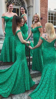 Mermaid Off-the-Shoulder Sweep Train Green Lace Bridesmaid Dress,prom dress ,6406