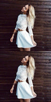 Two Piece High Neck 3/4 Sleeves Short White Satin Homecoming Dress,JJ640