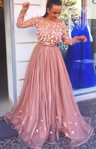Modest Pink Tulle Prom Dresses With Sleeves, Elegant A Line Long Sleeves Evening Gowns With Appliques,prom dress ,6412